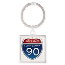 Interstate 90 - South Dakota Square Keychain