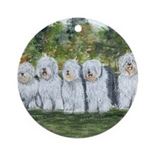old english sheepdog Round Ornament