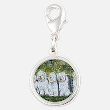 old english sheepdog Silver Round Charm
