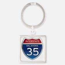 Interstate 35 - Oklahoma Square Keychain