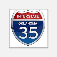 "Interstate 35 - Oklahoma Square Sticker 3"" x 3"""
