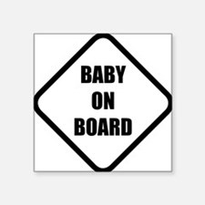 "baby on board 5 Square Sticker 3"" x 3"""