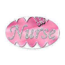 Nurse with diamonds copy Oval Car Magnet