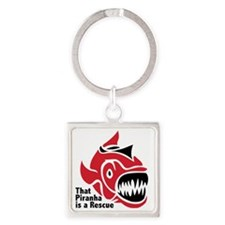 Piranhasrescue Square Keychain