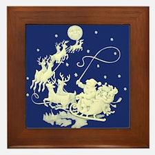 Christmas Santa Claus Night Sky Framed Tile