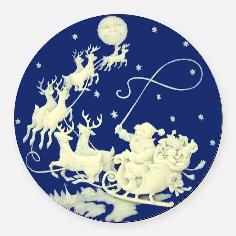 Christmas Santa Claus Night Sky Round Car Magnet