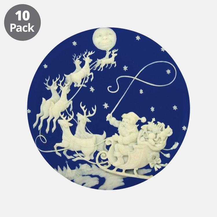 Christmas Santa Claus Night 3.5'' Button (10 P