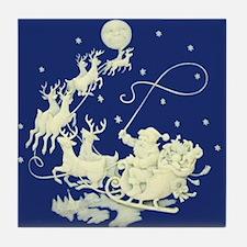 Christmas Santa Claus Night Sky Tile Coaster