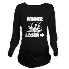 bowl111black Long Sleeve Maternity T-Shirt