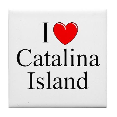 """""""I Love Catalina Island"""" Tile Coaster"""