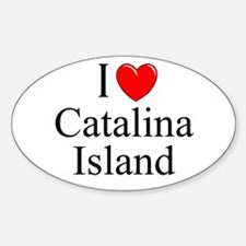 """I Love Catalina Island"" Oval Decal"