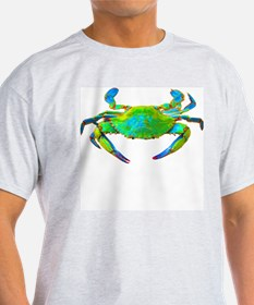 """Neon"" Blue Crab Ash Grey T-Shirt"