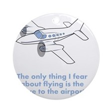 Airplane Fear Blue Round Ornament