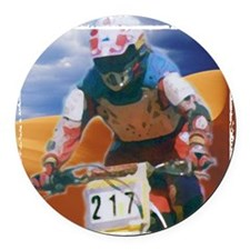 Motocross man Round Car Magnet