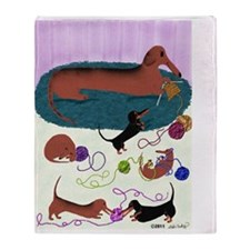 Knitting Dachshund Throw Blanket