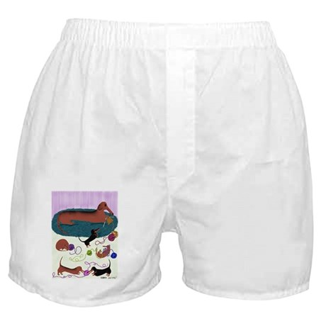 Knitting Dachshund Boxer Shorts