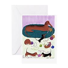 KnittingDachshundPoster Greeting Card
