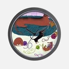 KnittingDachshundPrint Wall Clock