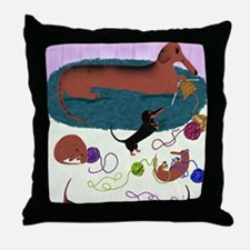 KnittingDachshundPrint Throw Pillow