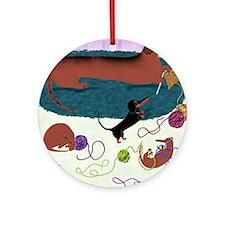 KnittingDachshundPrint Round Ornament