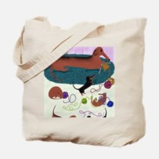 KnittingDachshundPrint Tote Bag