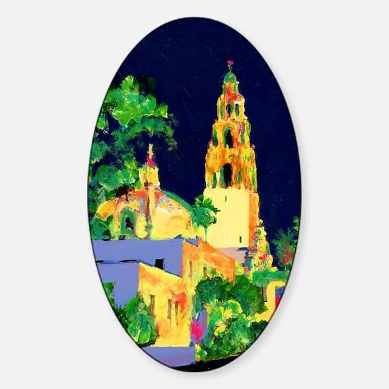 balboa park at night 9x12 Sticker (Oval)