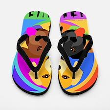 Labrador Retriever Graphic BLK Flip Flops