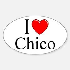 """I Love Chico"" Oval Decal"