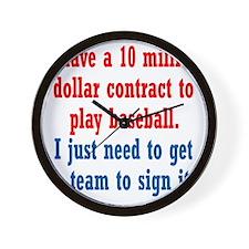 baseball-contract1 Wall Clock
