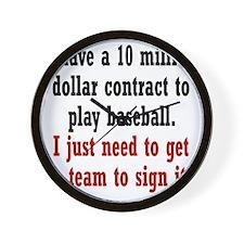 baseball-contract2 Wall Clock