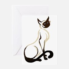 Sitting Siamese Kitty  worked over 2 Greeting Card