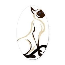 Sitting Siamese Kitty  worked over Oval Car Magnet