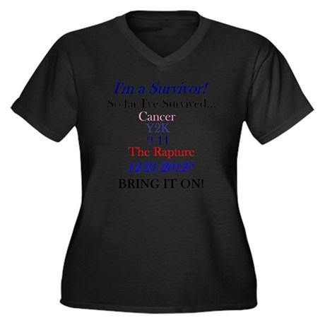 survivorcanc Women's Plus Size Dark V-Neck T-Shirt
