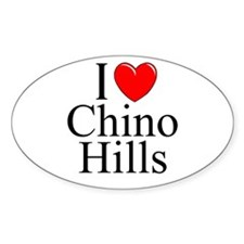 """""""I Love Chino Hills"""" Oval Decal"""