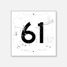 "Route 61 Sign Distressed Square Sticker 3"" x 3"""