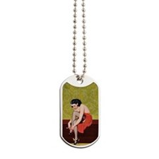 Sexy Woman in Red Poster Dog Tags