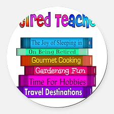 Retired Teacher Book Stack 2011 Round Car Magnet