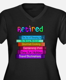 Retired BOOK Women's Plus Size Dark V-Neck T-Shirt