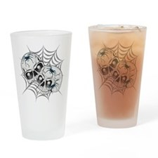 Spider Web Skulls Drinking Glass