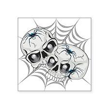 "Spider Web Skulls Square Sticker 3"" x 3"""