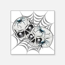 "Spider Web Skulls Square Sticker 3"" x 3"""