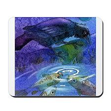 Crow Raven and Koi Fish Mousepad