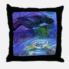 Crow/Raven and Koi Fish Throw Pillow