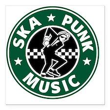 "SKA PUNK MUSIC Square Car Magnet 3"" x 3"""