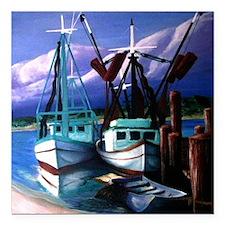 "shrimp_boats-3 Square Car Magnet 3"" x 3"""