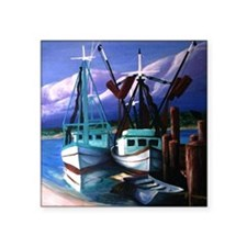 "shrimp_boats-3 Square Sticker 3"" x 3"""