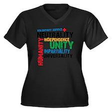 red cross 3N Women's Plus Size Dark V-Neck T-Shirt