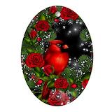 Cardinal bird christmas Oval Ornaments