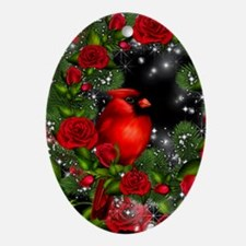 SPARKLING CARDINAL Oval Ornament