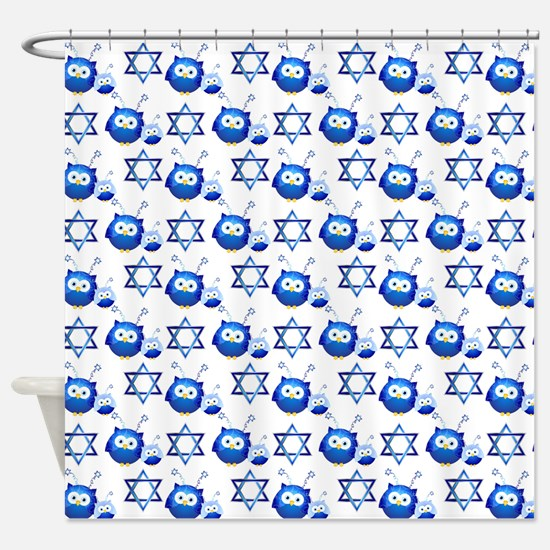 Owl and Star of David Shower Curtain